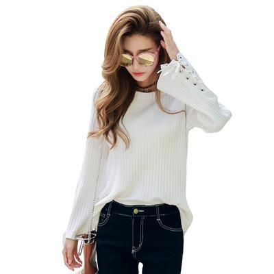 预售韩都衣舍2017韩版女装春装新款绑带喇叭长袖打底T恤DQ6934溯