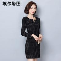 埃尔塔图秋季时尚女装长袖韩版圆领收腰显瘦印花连衣裙百搭单品裙