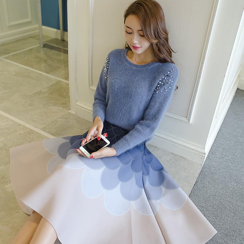 春装套装女时尚气质2017韩版毛衣裙子小香风两件套针织连衣裙秋冬
