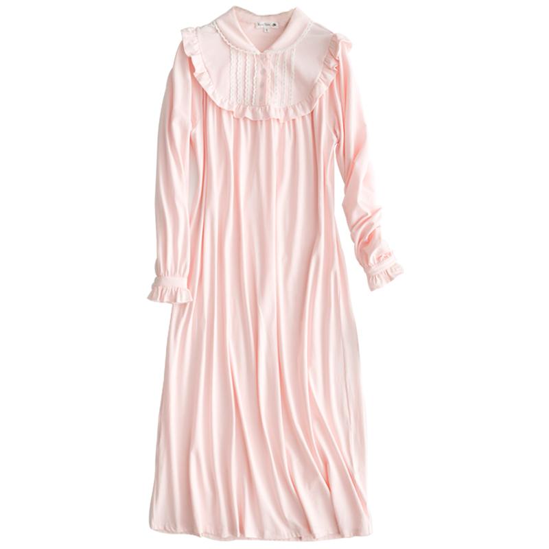RoseTree宫廷睡衣女秋长袖蕾丝长款睡裙复古公主可爱家居服莫代尔
