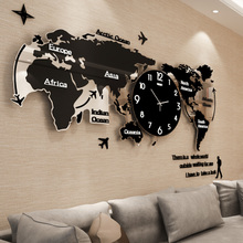 北欧静音世界地图钟表 挂钟客厅现代简约大气时钟创意挂表石英钟