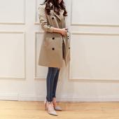 英伦风衣女中长款韩国2017秋冬新款秋装韩版收腰明星同款女装外套