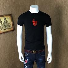 骷髅印花修身 打底衫 毛衣潮男 个性 冬季针织衫 T恤圆领半袖 短袖 男士