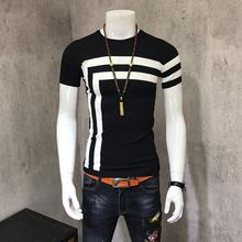 夏季针织衫短袖T恤男士韩版圆领修身冰丝半袖线衣男薄款打底衫潮