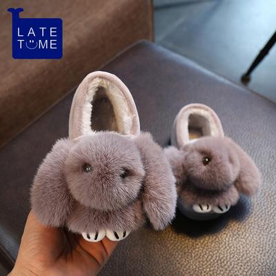 儿童棉拖鞋冬季可爱兔子包跟防滑家居鞋宝宝拖鞋冬男女童亲子棉鞋