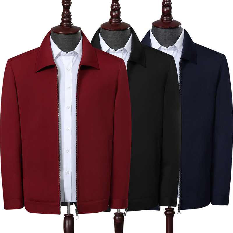 爸爸男裝中老年紅色夾克衫外套翻領春秋春季