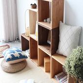复古实木格子柜单个自由组合书柜创意储物收纳柜北欧方格矮柜包邮