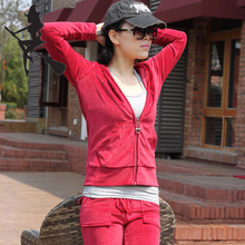 糖客的秘密天鹅绒女款春秋连帽运动休闲套装修身纯色