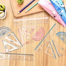 卡通学生套尺创意文具简约经典透明尺子套装学生塑料学习文具用品