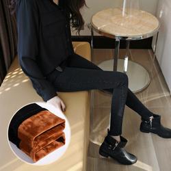 韩版新款冬季高腰加绒加厚牛仔裤女黑色小脚修身显瘦弹力铅笔长裤