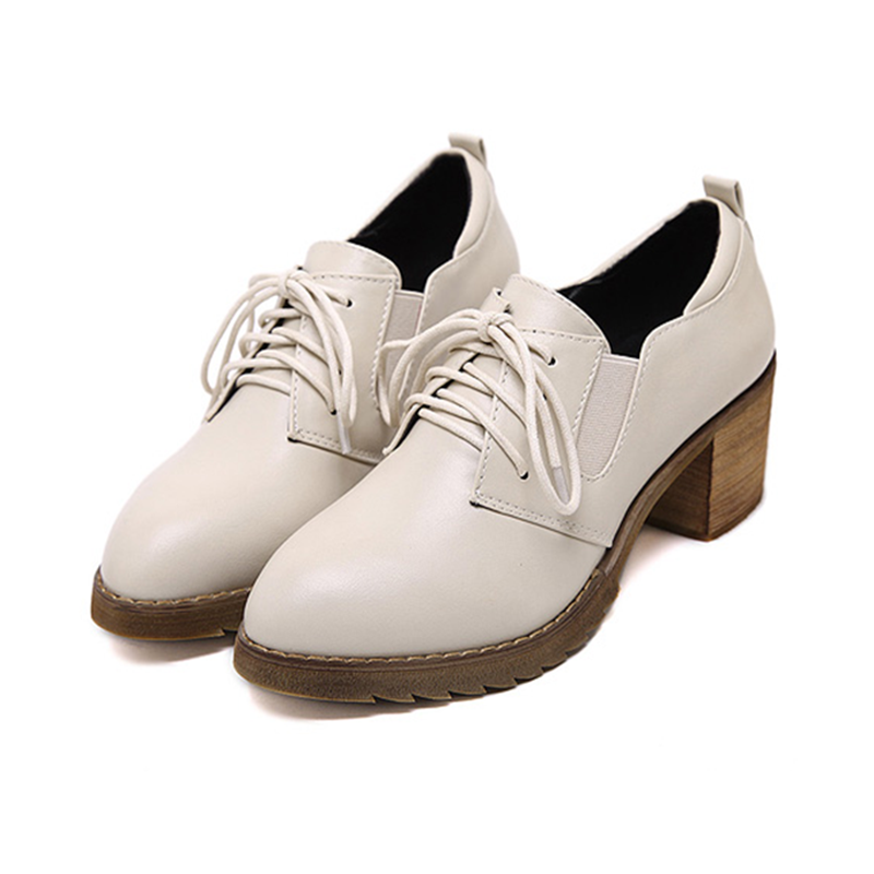 2016女鞋秋英伦风学院布洛克女尖头单鞋高跟皮鞋粗跟系带小白鞋女 - 女鞋秋高跟