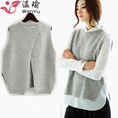 温瑜春季韩版女装羊绒背心坎肩针织马甲后背开叉圆领套头毛衣外套