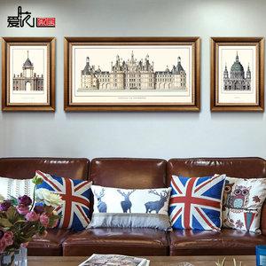 美式装饰画北欧客厅沙发背景墙三联画办公室玄关挂画建筑有框画