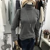 秋冬韩版加厚磨毛高领修身保暖打底衫 女士纯色精梳棉长袖T恤包邮