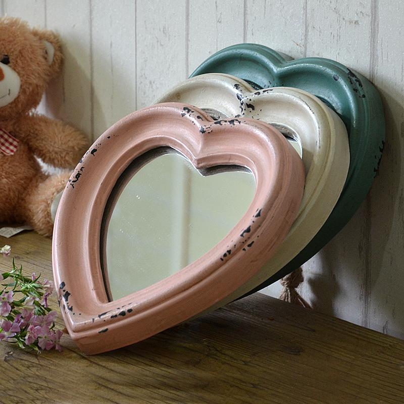 美式乡村心形镜子壁挂装饰镜实木做旧艺术镜小镜子镜