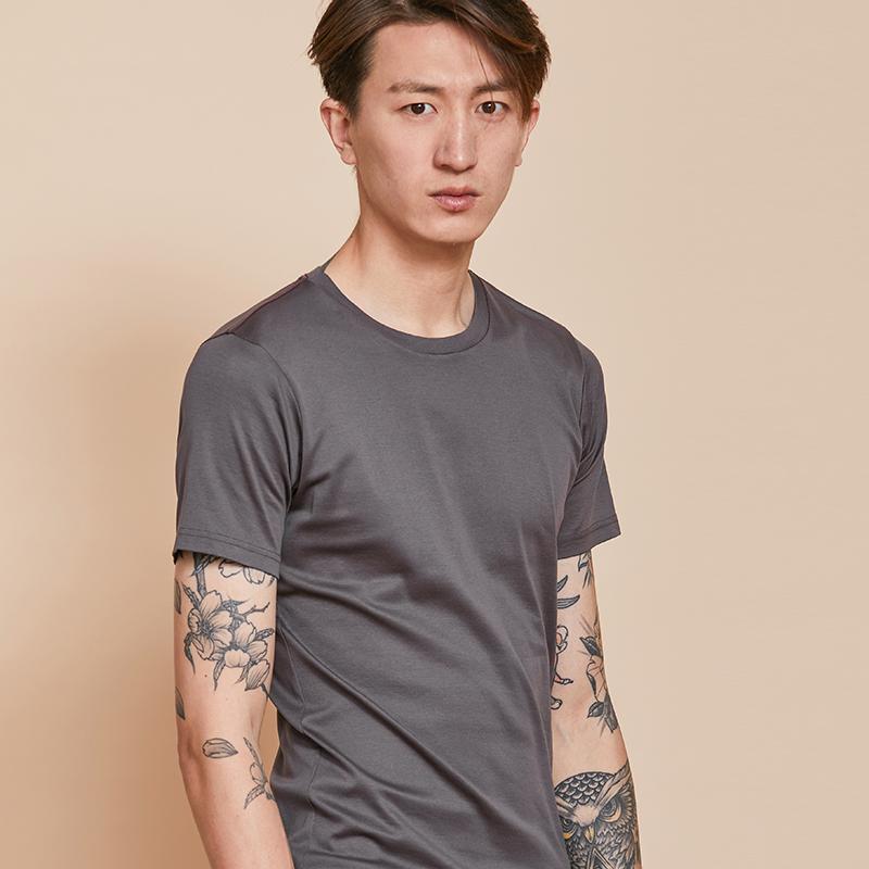 速写男装新品17秋冬棉纯色圆领套头基本款百搭短袖T恤 9G761077