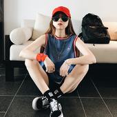 韩版新款夏季宽松BF拼色网纱镂空运动风无袖背心T恤衫女上衣潮