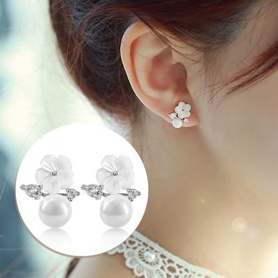 925银韩国母贝花珍珠气质耳钉女无耳洞耳夹时尚甜美装饰简约耳饰