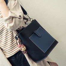 2017新款韩版时尚简约撞色子母包单肩斜挎包水桶包大包包复古女包