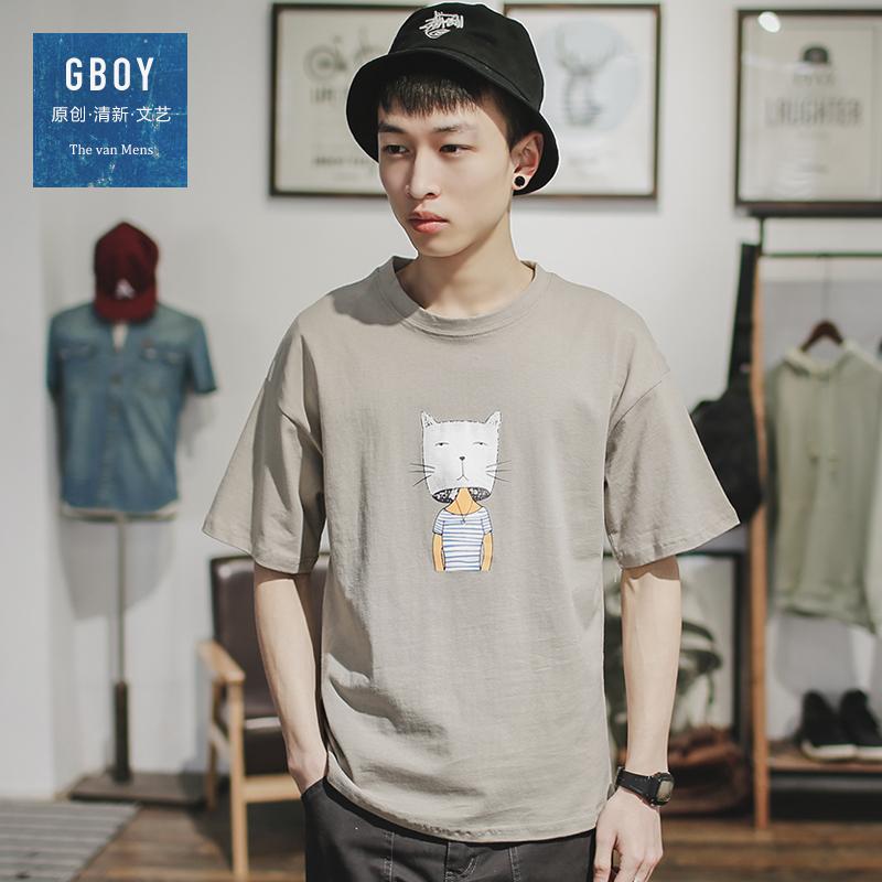 GBOY夏季潮流T恤男短袖日系青年卡通印花圆领休闲百搭学生上衣棉