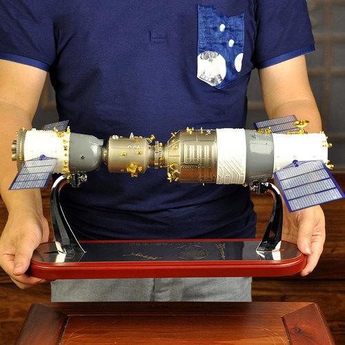 合金天宫二号和神舟十一号模型对接神舟11号火箭航天飞船模型礼品