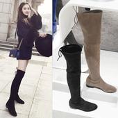显瘦弹力内增高过膝长靴秋冬真皮靴子女2017新款长筒靴系带大腿靴