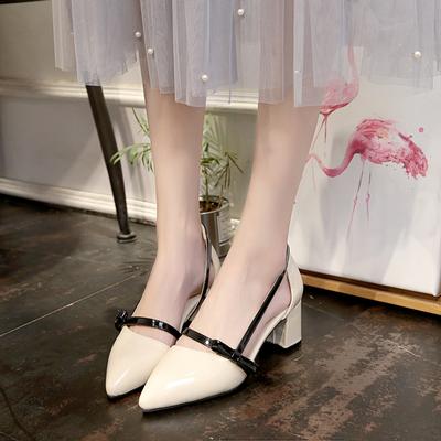 2017年新款夏季凉鞋女粗跟尖头一字扣带高跟鞋蝴蝶结中跟包头女鞋