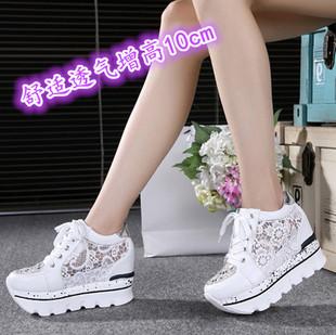 夏天新款镂空透气内增高单鞋女鞋超高跟鞋10cm休闲鞋运动鞋网鞋女