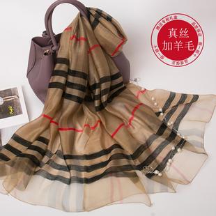 杭州丝绸正品真丝丝巾韩版桑蚕丝女生线条秋冬季羊毛英伦格子围巾