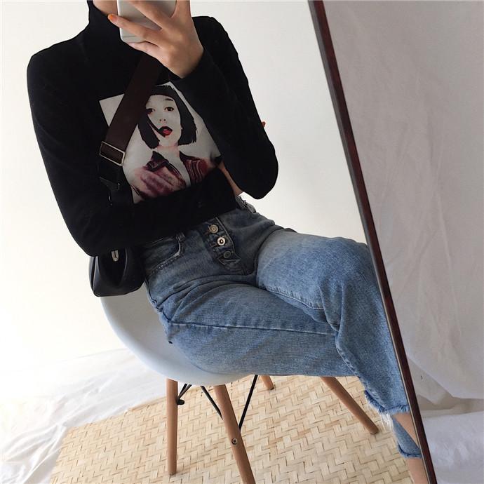 秋冬新款韩版时尚修身显瘦复古头像印花百搭长袖打底衫T恤上衣女