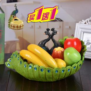 创意孔雀糖果盘树脂欧式水晶玻璃水果盘大号包邮孔雀