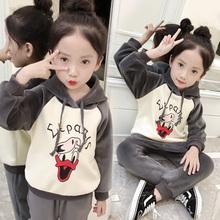 2017秋冬装新款女童金丝绒套装洋气加绒卫衣韩版中大童儿童两件套