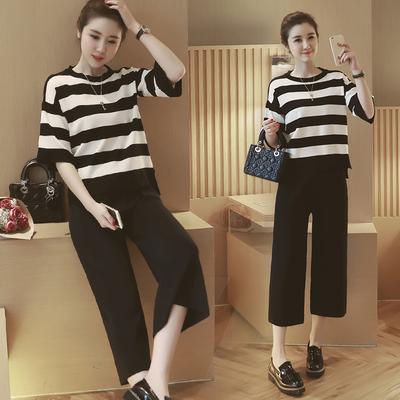 夏季孕妇装新款韩版条纹中袖针织衫+七分托腹阔腿裤孕妇两件套装