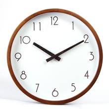 北欧无印现代简约静音挂钟时尚创意客厅实木无声钟表圆形石英钟