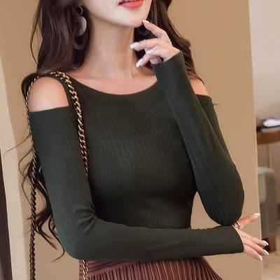 2017秋装新款韩版女装圆领露肩长袖T恤女修身体恤上衣百搭打底衫
