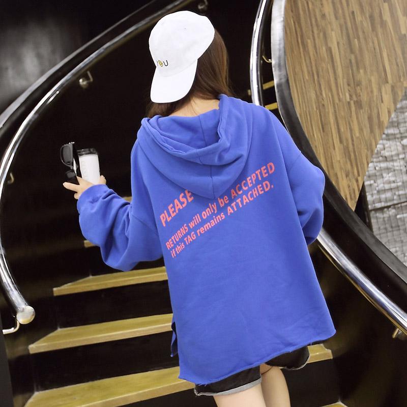 7243#秋季韩国女装休闲宽松显瘦中长款印花长袖带帽学生卫衣外套