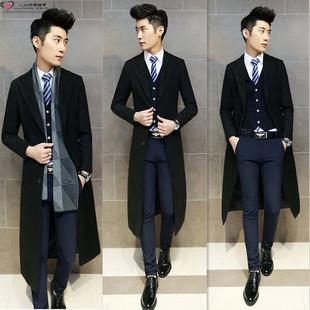 冬季新款加长男士休闲毛呢子大衣韩版修身超长款风衣过膝男装外套