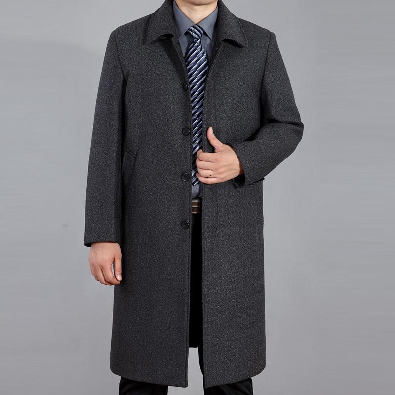 中老年过膝加长羊绒大衣男长款羊毛呢子大衣超长外套大码风衣冬