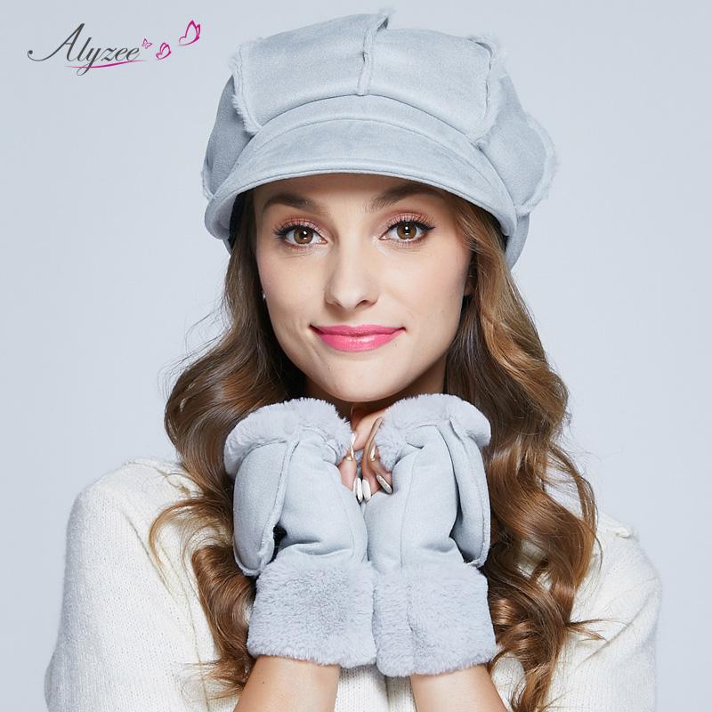 Alyzee爱丽榭贝雷帽子女式秋冬天英伦毛球八角帽加厚保暖鸭舌帽