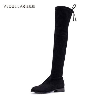 【维杜拉旗舰店】维杜拉2017冬季新款显瘦过膝长靴