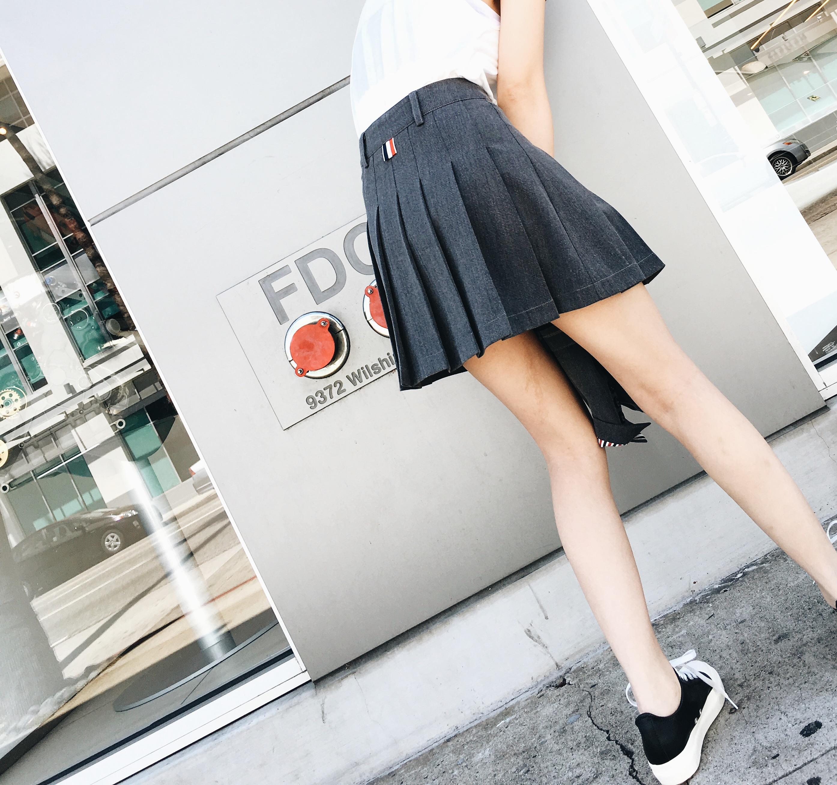短裙西裝灰色學院半身百褶裙 定制