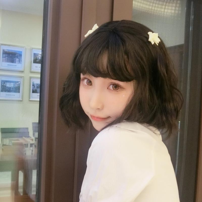 整顶假发女短发网红短卷发空气刘海甜美可爱蓬松韩国蛋卷圆脸头套