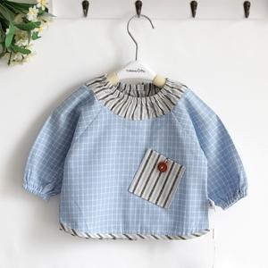 新款春秋天然之棉婴儿纯棉棉麻罩衣男宝罩衣反穿衣宝宝饭衣 0-3岁
