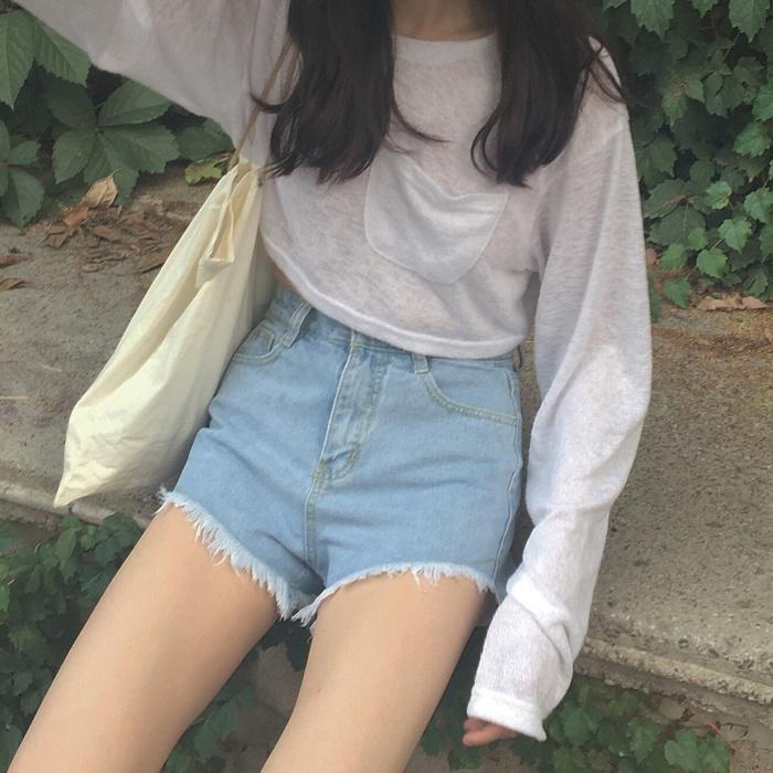 夏季短裤休闲前短后长毛边高腰学生宽松热裤复古牛仔