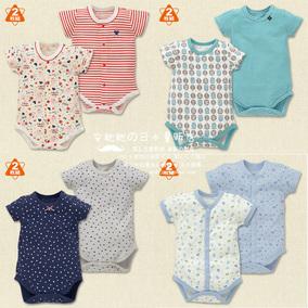日本西松屋新生儿婴儿可爱棉短袖夏日清凉包屁衣哈衣服 两件套