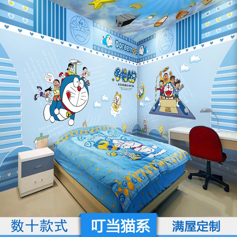哆啦A梦儿童房壁纸卧室幼儿园卡通叮当猫ktv可爱主题男孩女孩墙纸