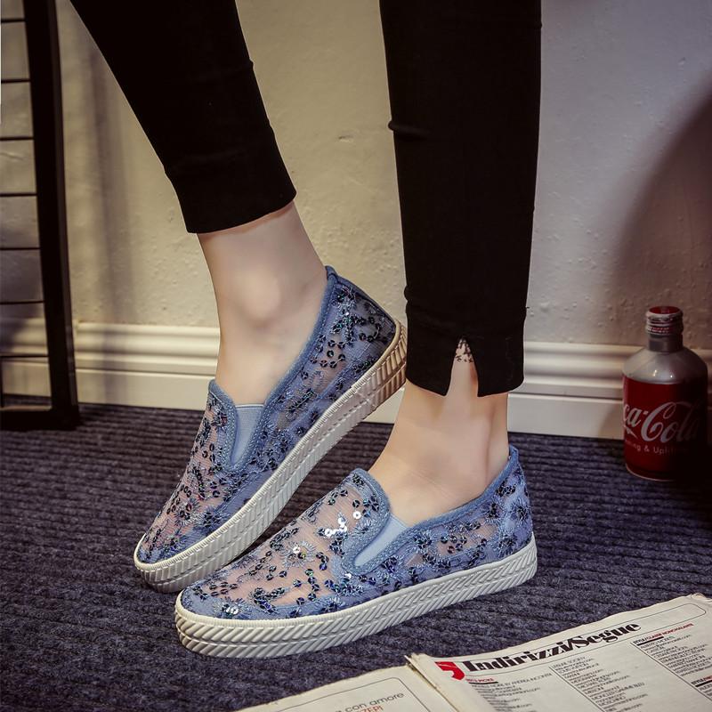 蕾丝夏季帆布鞋镂空休闲鞋白色透气网布平底懒人脚蹬