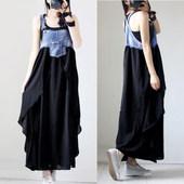 时尚 潮流吊带背心裙背带牛仔布雪纺拼接连衣裙百褶长裙女 欧美夏装