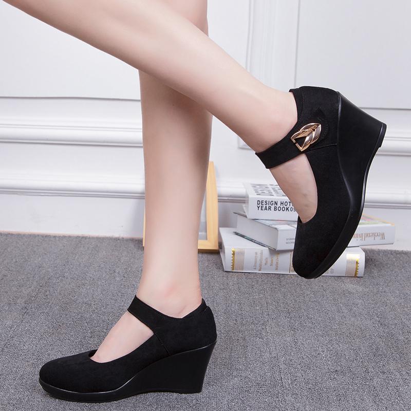 2017春季女鞋 坡跟时尚黑色工作鞋 舒适酒店服务员鞋子
