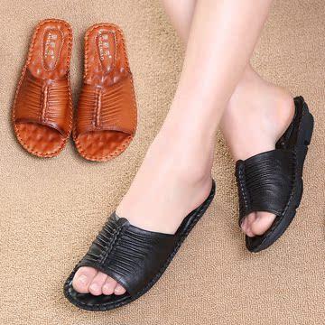 夏季新款真皮大码妈妈鞋拖鞋舒适软底中老年凉拖鞋复古女鞋休闲鞋